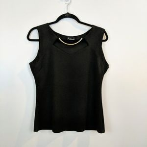 Black Sleeveless top with gold accent